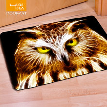 HUGSIDEA Cool Entrance Mat 3D Animal Owl Wolf Home Floor Carpet for Living Room Bedroom Tapete 40*60cm Soft Rubber Doormat Tapis