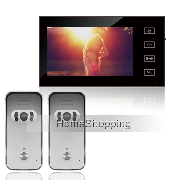 FREE SHIPPING New 7 inch Touch Screen Video Door phone Intercom System With two Night Vision Outdoor Camera + 1 Monitor IN STOCK brand new wired 7 inch color video door phone intercom doorbell system 1 monitor 1 waterproof outdoor camera in stock free ship