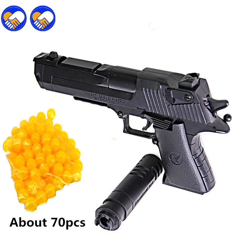 Building Blocks Toy Gun Desert Eagle Assembly Toy Puzzle Brain Model Can Fire Bullets With Instruction Book And 70pcs Bullets 3d paper model gun pistol hellboy revolver with bullets firearm oversized model