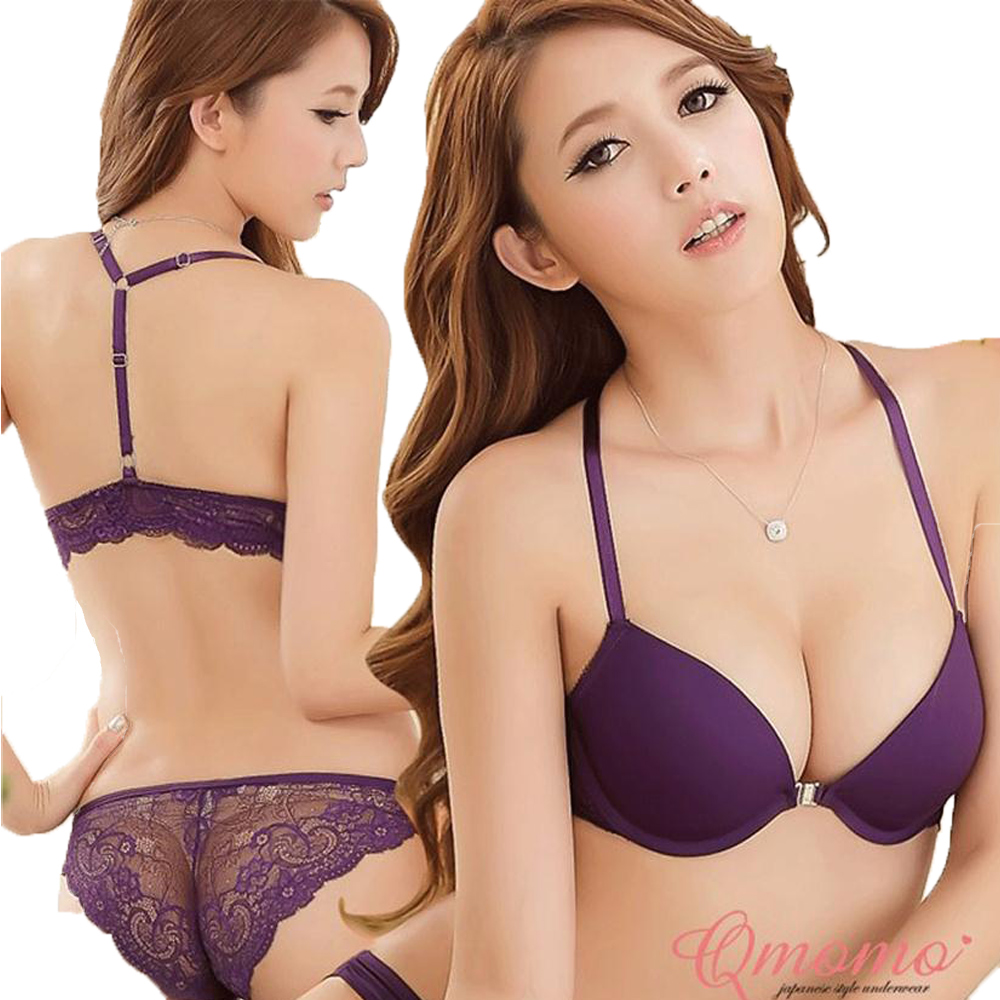 Sexy Lace Bra Set Japanese Girl Push Up Front Closure Bra And Panties White Black Purple Underwear B Cup Lingerie Sets For Women