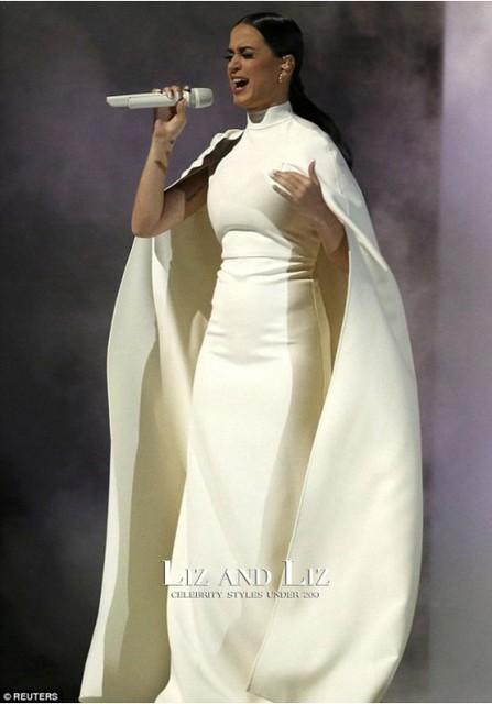 Katy Perry Vestido Formal Branco com Cabo Grammys Desempenho Estilo Árabe Vestido de Noite para As Mulheres Grávidas Maternidade Vestido Formal