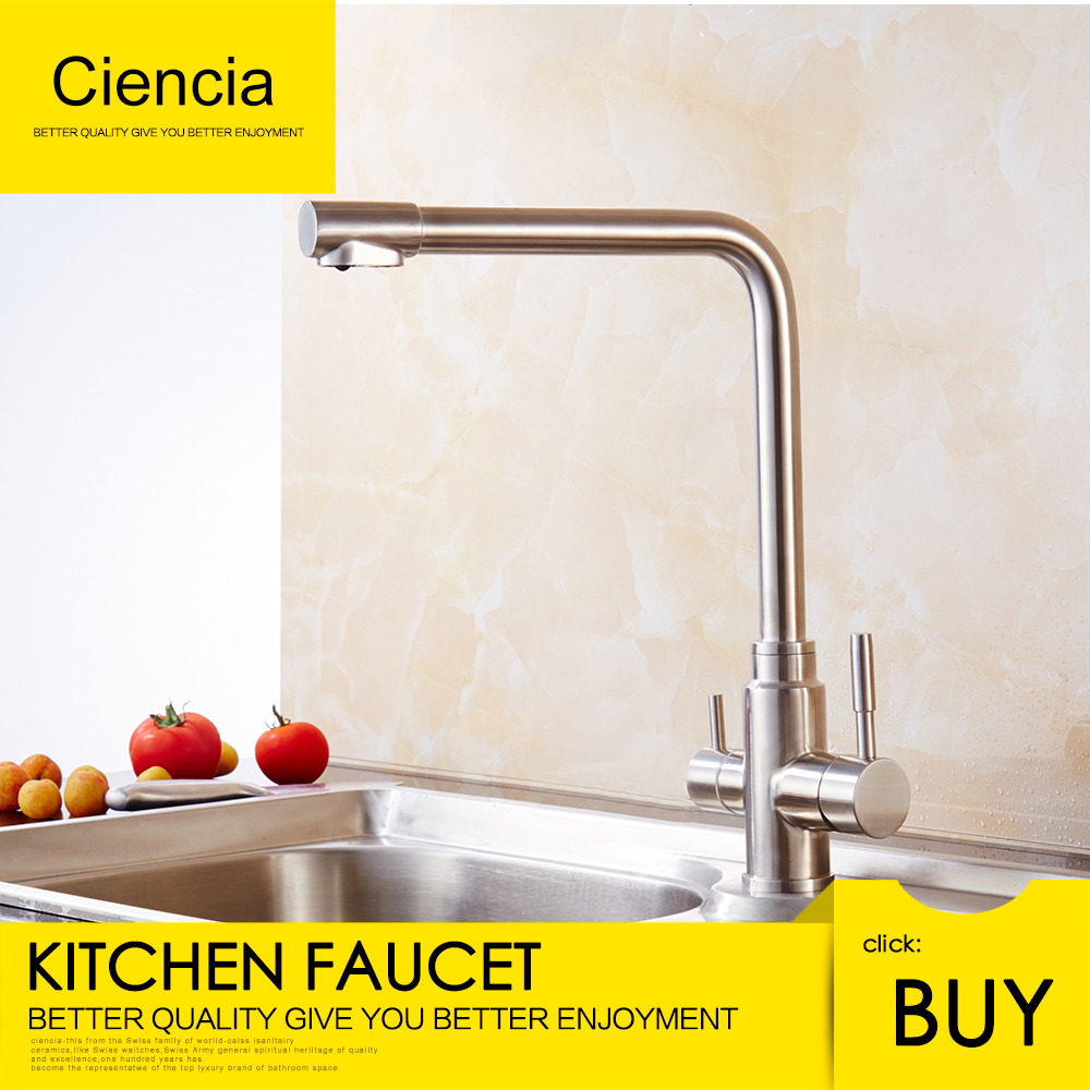 Free Shipping Ciencia Stainless Steel Brushed Nickel Kitchen/Drinking Water Double Handle Faucet 360 Degree Rotate Kitchen Mixer free shipping ciencia stainless steel brushed nickel undermount double bowl handmake kitchen sink with faucet for kitchen