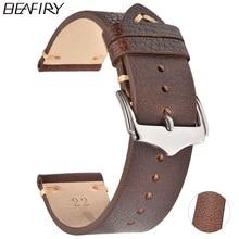 цена на BEAFIRY Oil Wax Natureal Crack Leather Watch Band 18mm 20mm 22mm Discolored litchi grain cowhide Leather Watch straps watchband