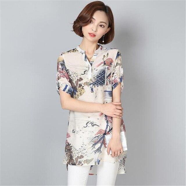 7a1d832abedc8 Nice Women Blouses Casual Vintage Floral Printed Long Tops Fashion V Neck  Button Linen Shirts Plus Size Blusas Femininas ZY4444