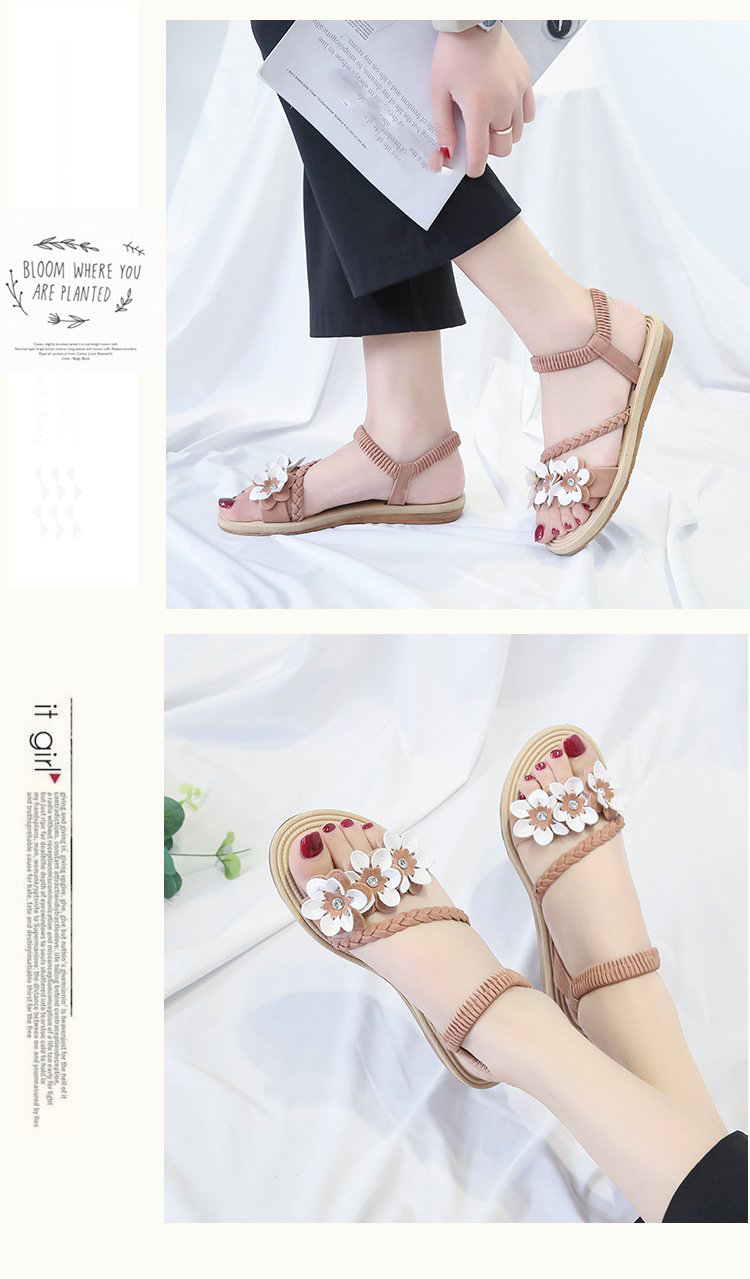 HTB1rKVsSH2pK1RjSZFsq6yNlXXaz - Summer Shoes Woman Sandals Elastic ankle strap Flat Sandalias Mujer Flowers Gladiator Beach Sandals Ladies Flip Flops