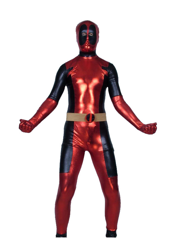Red & Black Shiny Metallic Deadpool Costume