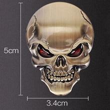 3D Metal Skull Sticker Logo Emblem Decals