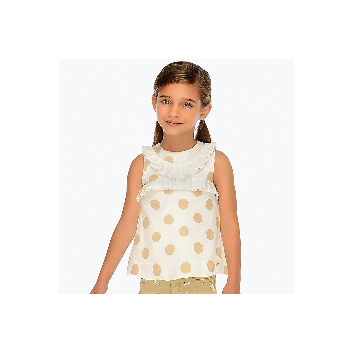 Фото - MAYORAL Blouses & Shirts 10691258 children clothing blouse for girls contrast lace keyhole back blouse