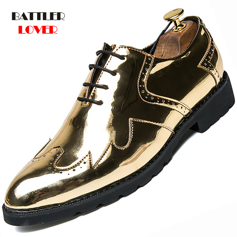 Men Gold Patent Leather Oxfords Shoe Genuine Leather Classic Business Brogue Shoes Men