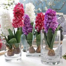 Sztuczny kwiat hiacynt z żarówki ceramiki kwiat z jedwabiu sztuczny liść ślubne dekoracje ogrodowe domu tabeli akcesoria rośliny 1pc
