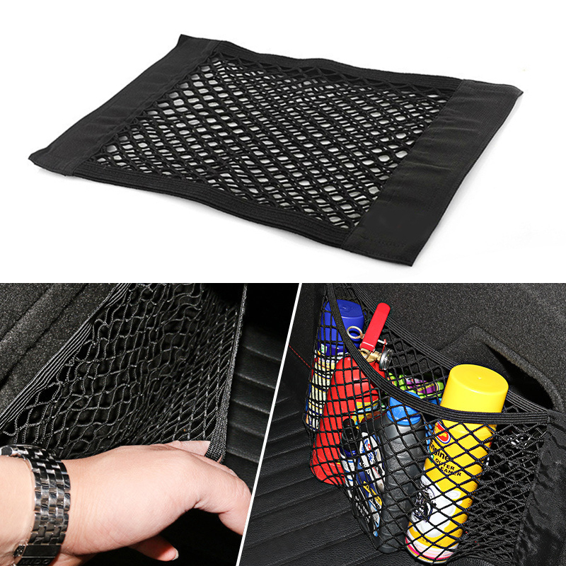 Car Back Rear Trunk Seat Storage Bag Mesh Auto Organizer Double-deck Elastic String Net Magic Sticker Pocket Bag 40*25cm