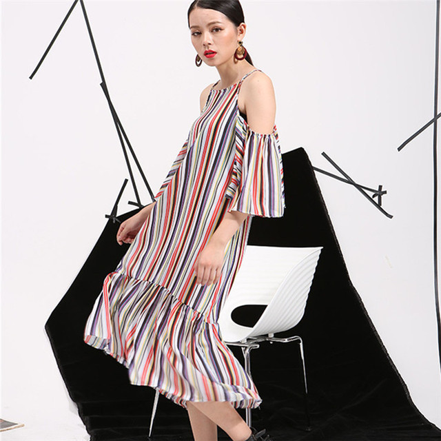 [soonyour] 2016 summer new Korean temperament loose short-sleeved striped strapless flounced harness dress  AS11699