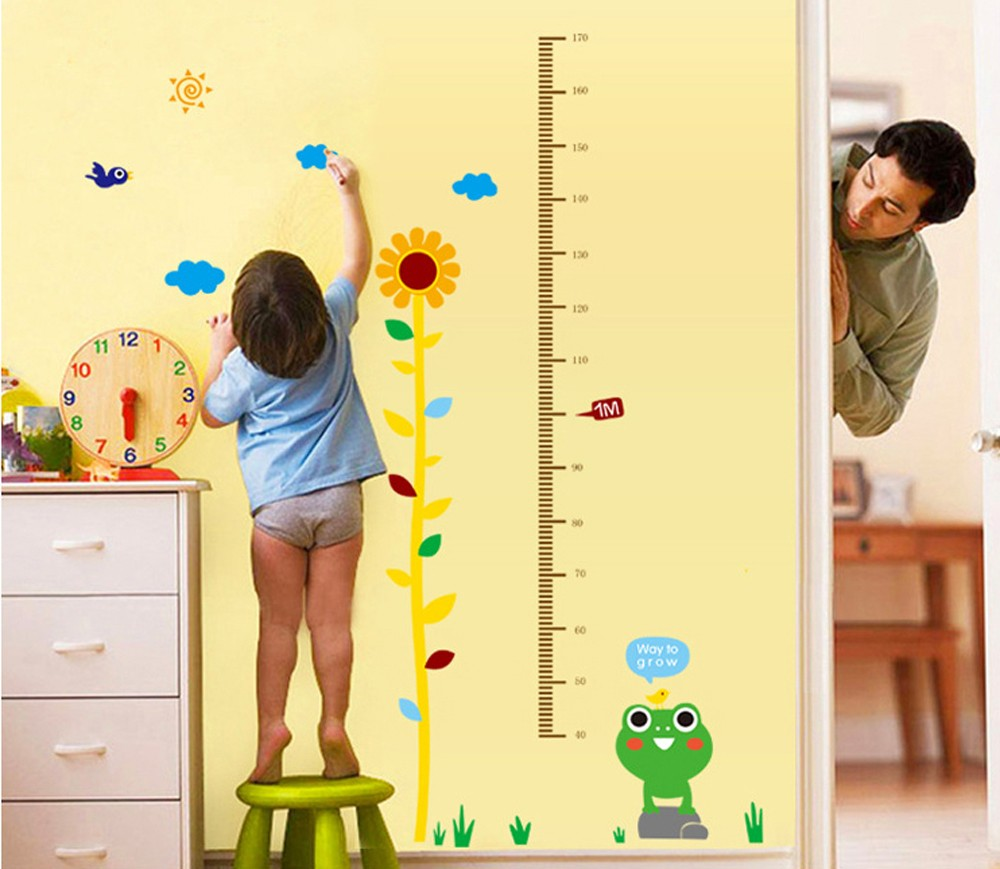 Cartoon Frog and The Sunflower DIY Height Chart Decals(40 170cm ...