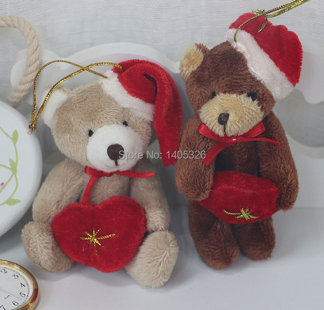 105fbad629 10 pieces lot wear a hat small plush bear indoor Christmas tree decoration  pendant wedding hold heart teddy bear doll