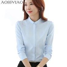 AOSSVIAO 2017 New Korean Style Women Blouses Fashion Autumn Long Sleeve Chiffon Ladies Office Shirt White Blue Tops Formal