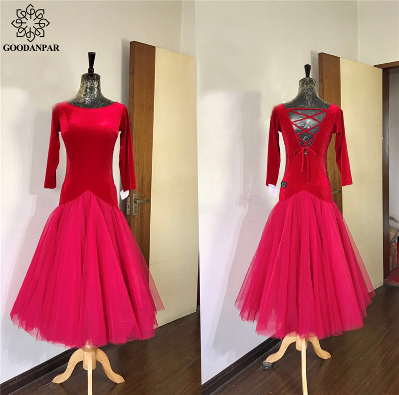 GOODANPAR Ballroom Dance Competition Dresses Long Sleeves Backless Silk Velvet Ballroom Dance Wear Waltz Flamenco Tango Costume