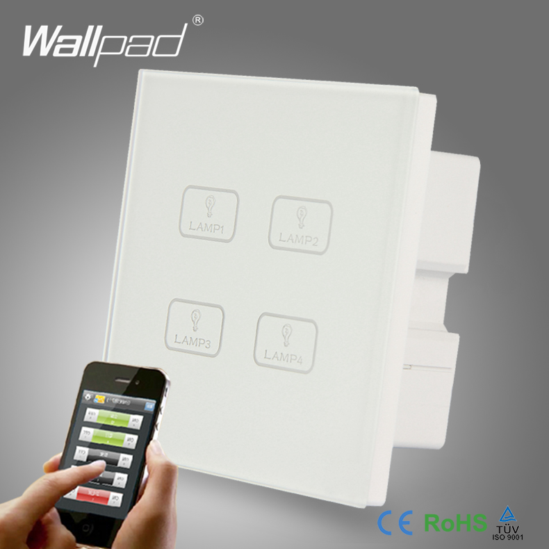 Smart WIFI 4 Gang Switch New Design Wallpad White Crystal Glass 4 Gang Phone Wireless APP Remote WIFI Touch Control Light Switch eu 1 gang wallpad wireless remote control wall touch light switch crystal glass white waterproof wifi light switch free shipping