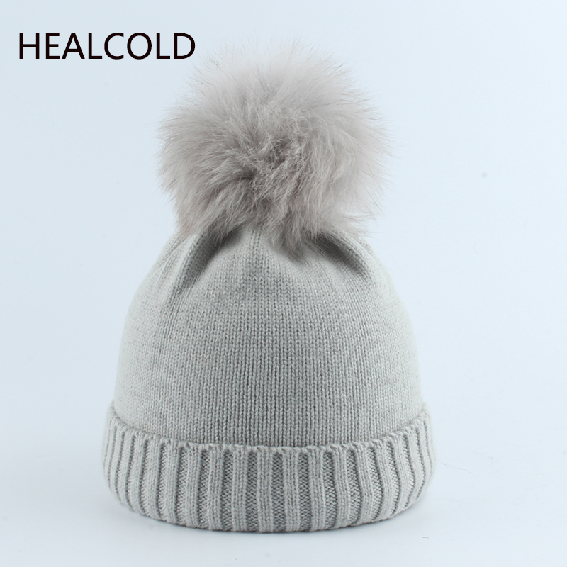 Winter Hat For Children Real Fur Pompom Hats Kids Wool Beanies Girls Knitted Warm Cap Boy 2019(China)