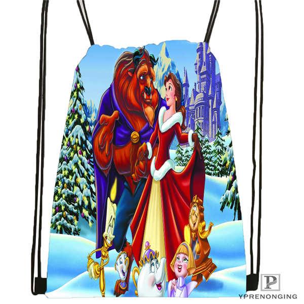 Custom Beauty_beast Drawstring Backpack Bag Cute Daypack Kids Satchel (Black Back) 31x40cm#180612-02-19