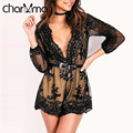 charMma Elegant Sequins Jumpsuit Floral Print Summer Long Sleeve Sexy Playsuit Tassel Short Club Party Romper V Neck Overalls