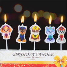 5pcs/lot Puppy Patrol Party Supplies Kids Birthday Candles Evening Party Decorations Set Birthday Wedding Party Cake Candles