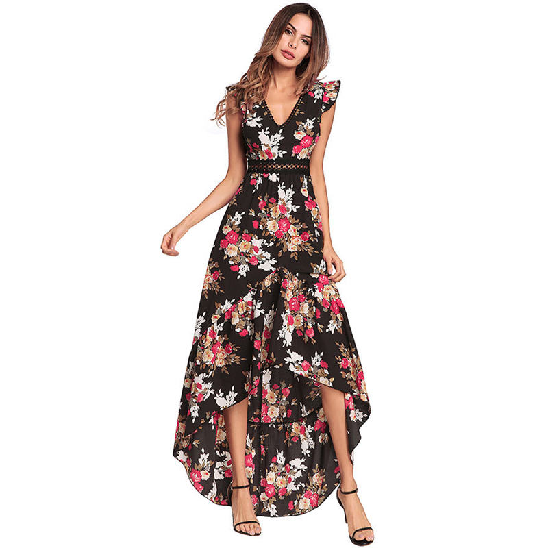 UNIQUEWHO Lady Women Floral Print Dress Boho Chic V Neck Backless Long Dress Slim Sexy Summer Beach Dress Cocktail Party Dresses