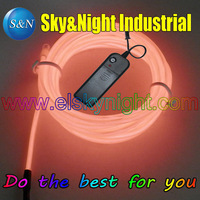 (7 Set / Lot) Orange Color 5M Flexible Neon Light EL Wire Rope Tube with Controller +Free Shipping