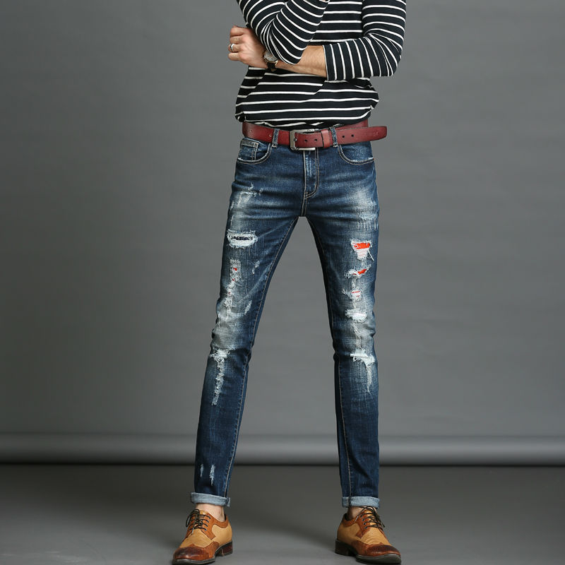 The best Ripped Skinny Jeans Men Stretch Hole Jeans Cool Jean Slim Homme All-Match Trousers Casual Pants Elastic Male Pants Men skinny jeans men stretch hole jeans ripped jean famous brand all match trousers casual pants elastic stretch long pants men 224