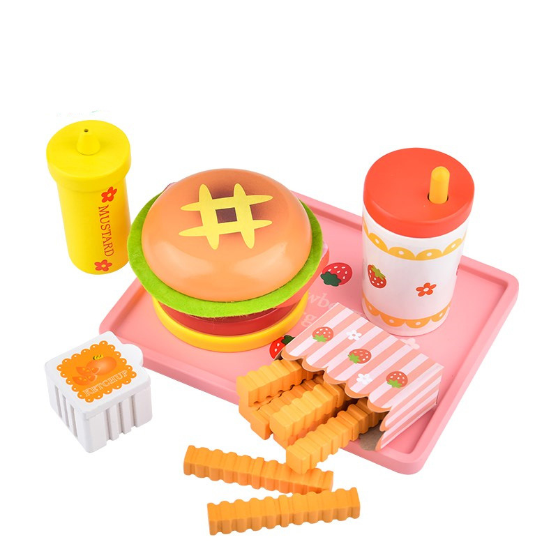 NEW Baby Toys Strawberry Simulation Hamburger French Fries Wooden Toys For Kids Hot Dog Set Kicthen Food Toys Educational Gift