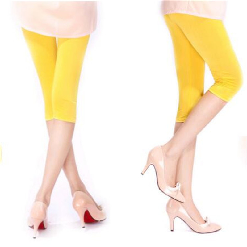 Image 5 - New Soft Solid Candy Color Women Summer Leggings High Stretched High Quality Fitness Clothing Cropped Trousers Women Accessory-in Leggings from Women's Clothing