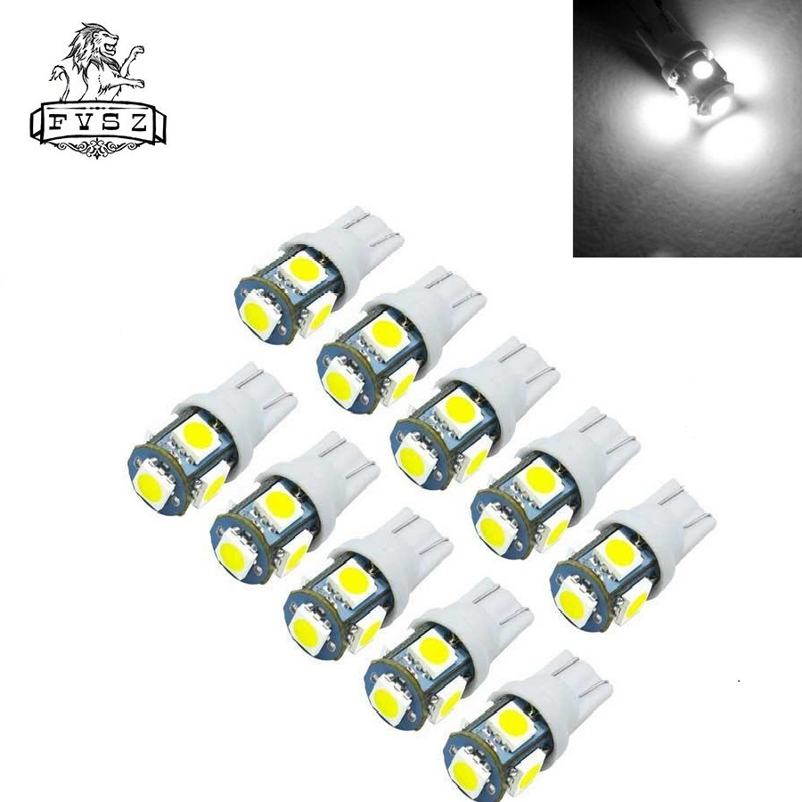 10Pcs T10 Led Can bus 12V W5W 194 6000K Cars From 5050 LED Light Emitting Diodes Independent 5Led Bulb No Errors Univ Auto Lamp in Signal Lamp from Automobiles Motorcycles