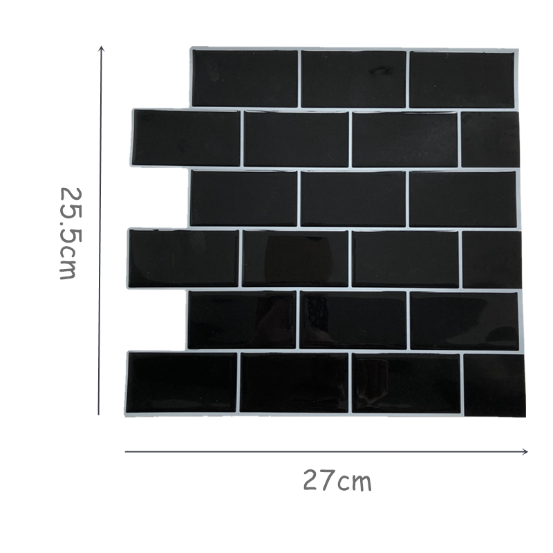 Black Subway Tile Self Adhesive Peel And Stick Backsplash Brick Wall