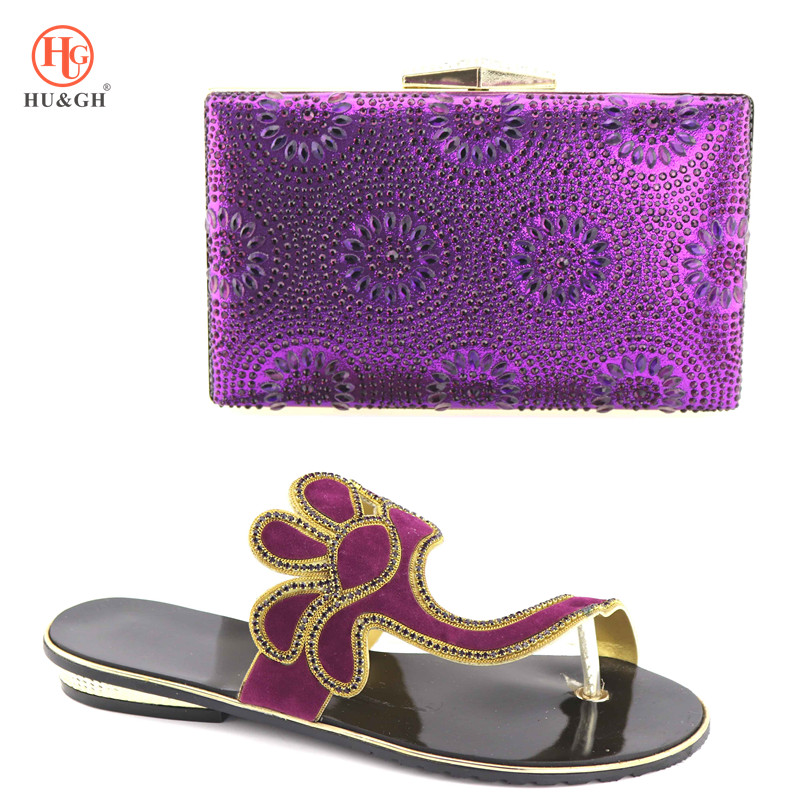 2018 New Shoes and Bag Set African Sets Purple Color Italian Shoes with Matching Bags High Quality Women Shoes and Bag for Party doershow italian shoes with matching bag high quality italy shoe and bag set for wedding and party purple free shipping hv1 59