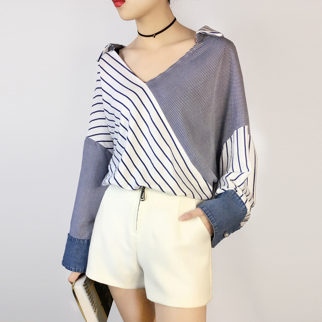 {XITAO} 2017 new Spring Korea wind personality color striped female patchwork jean batwing sleeve V collar pullover shirt RSJ009