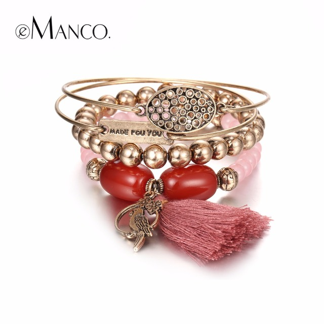 eManco Trendy Vintage Tassel Stretch Bracelets & Bangles for Women Stones Beads Ancient Jewelry Accessories