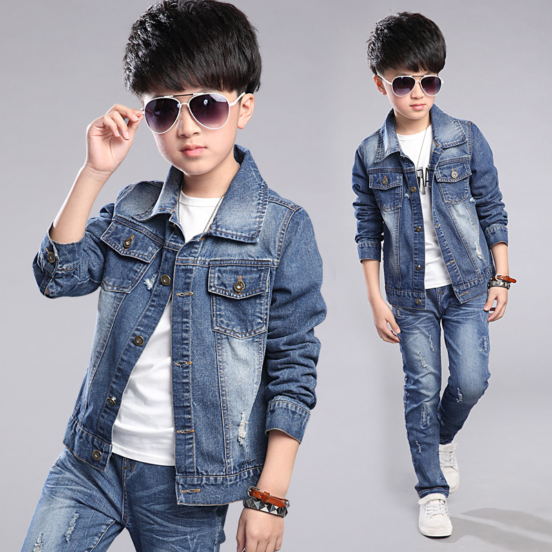 Baby Big Boys Coats Kids Hole Denim Spring Jackets Clothes Children Jeans Outerwear Infant Tops Teenage Boys Jackets Clothing 2 14y children clothing spring 2018 big girl denim jackets children jeans coats kids coats for girls outerwear kids clothes tops