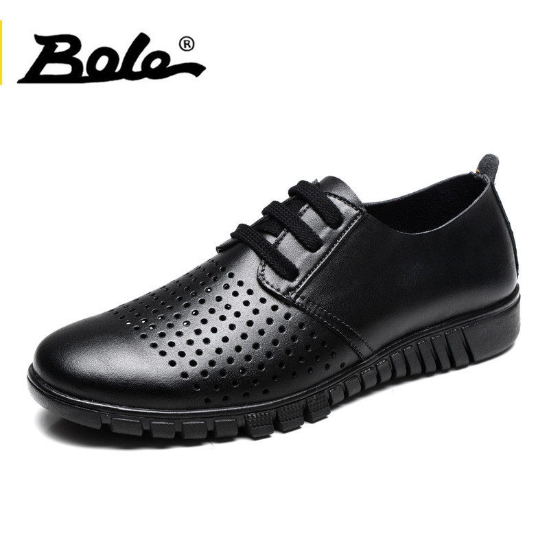 BOLE Larg Size 36-47 Microfiber Leather Summer Breathable Men Flat Shoes Men Lace Up Light Weight Leather Non-slip Sneakers