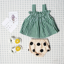 Ins Hot 2017 Summer Baby Girls Lattice Sleeveless Harness Vest + Bread Pants Female Baby Wild Bodysuit Clothes for All-purpose