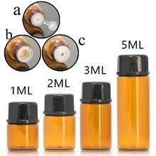 100 stks/partij 1 ml 2 ml 3 ml 5 ml Etherische Olie Flessen Kleine Amber & Transparant Glas Monsterflesjes met orifice