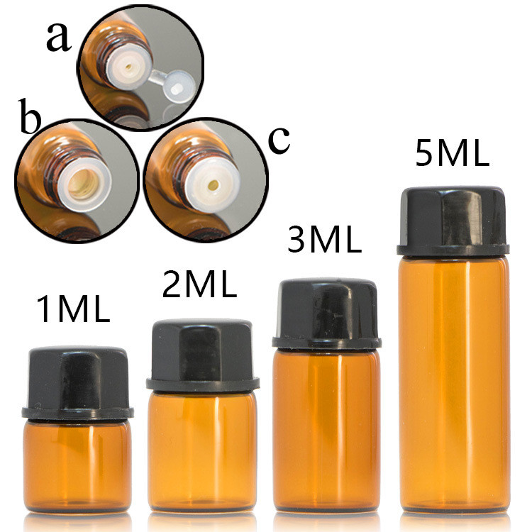 100pcs/lot 1ml 2ml 3ml 5ml Essential Oil Bottles Small Amber & Transparent Glass Sample Vials With Orifice