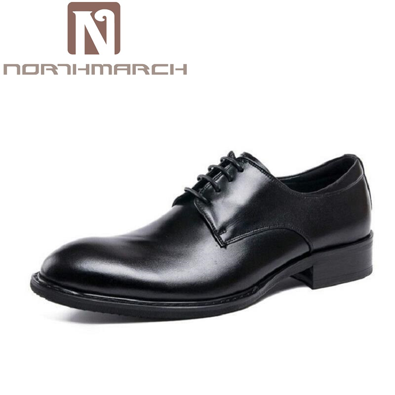 NORTHMARCH Round Toe Lace-up Wedding Classic Business Man Formal Shoes Fashion Soild Black Genuine Leather Male Dress Shoes цены онлайн