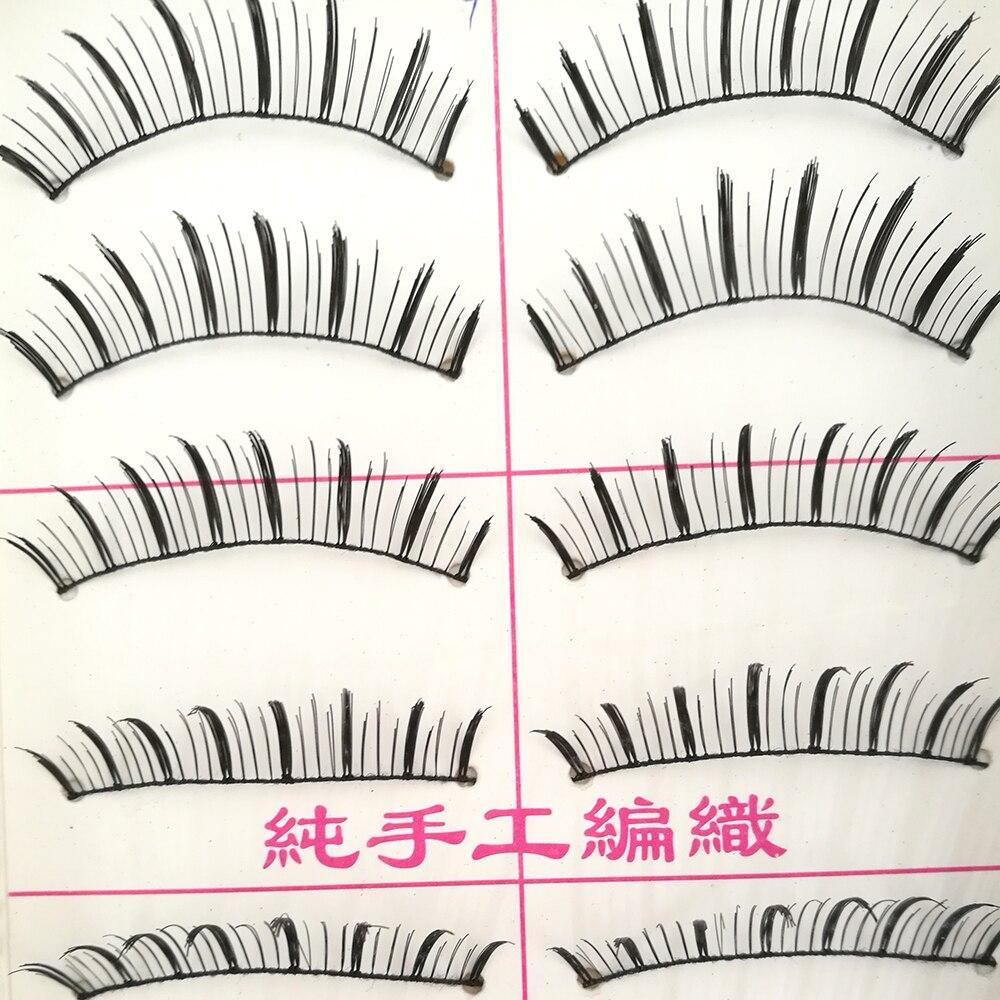 Eyemix 10 Pairs False eyelash Six Style Cotton Eyelash Extension Stalk Long Thick False Eyelashes Makeup Black Fake Eye Lashes
