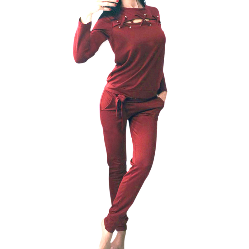 2017 Autumn Spint Women Clothes Set 2PCS Sweat Shirts Long Sleeve Loose Pullovers O-Neck Hoodie+Casual Long Pant