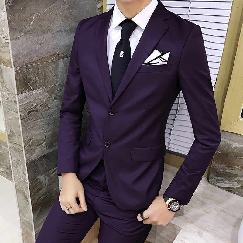 2019 New Men's Purple Suit , Fashion British Style Men's Slim Solid Color Business Suit, High grade Gentleman Leisure Two piece