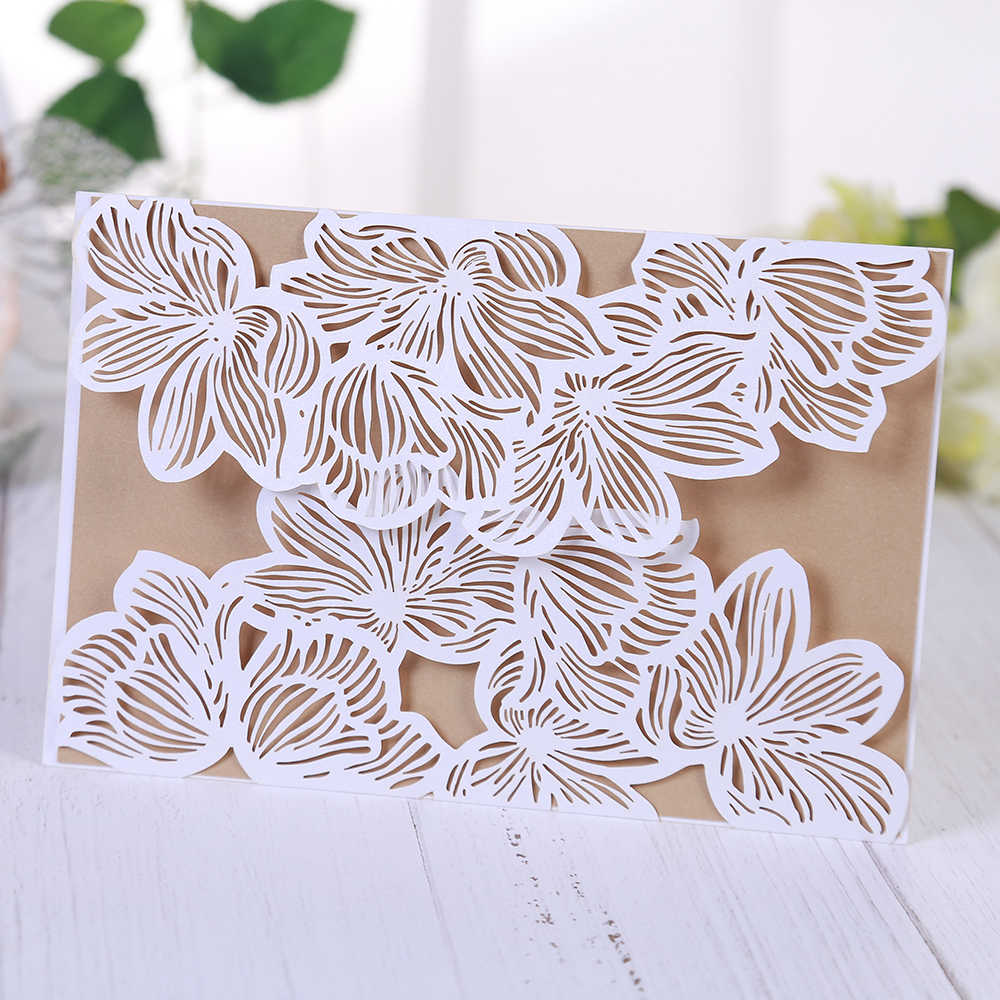 Hollow out Luxury Laser Cut Wedding Invitations elegant Card set Baby Shower With Ribbon Free Envelope & Seals Party Supplies