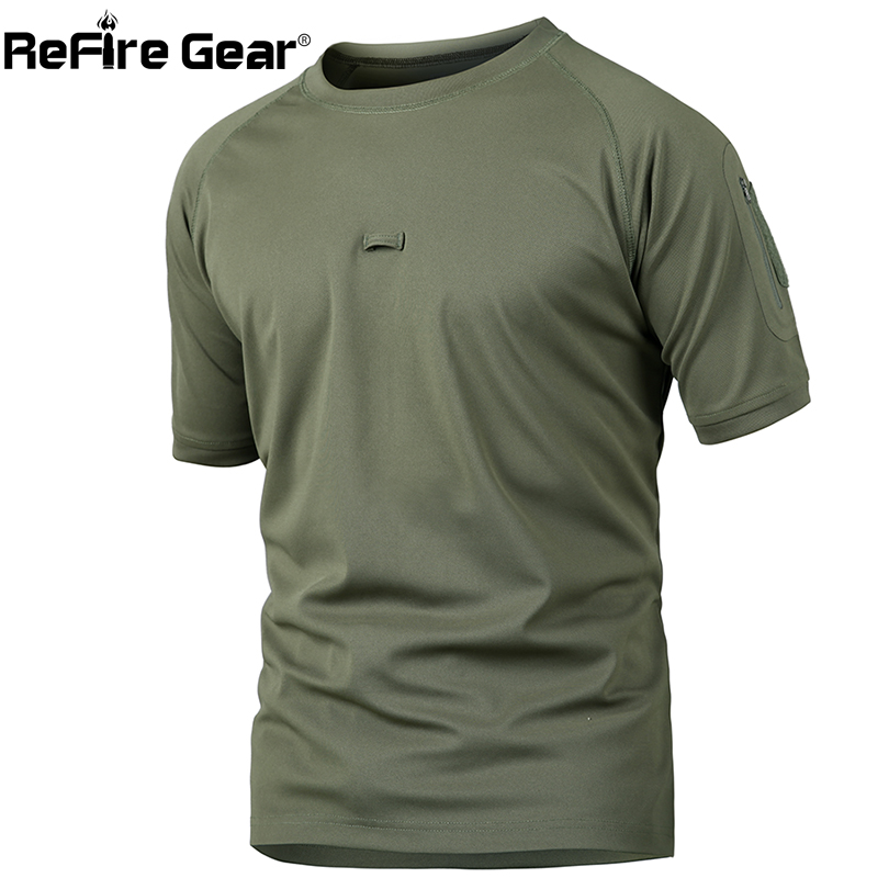 ReFire Gear Summer Tactical Camouflage T Shirt Men Quick Dry Army Combat T-Shirt Casual Breathable Camo O Neck Military T Shirt