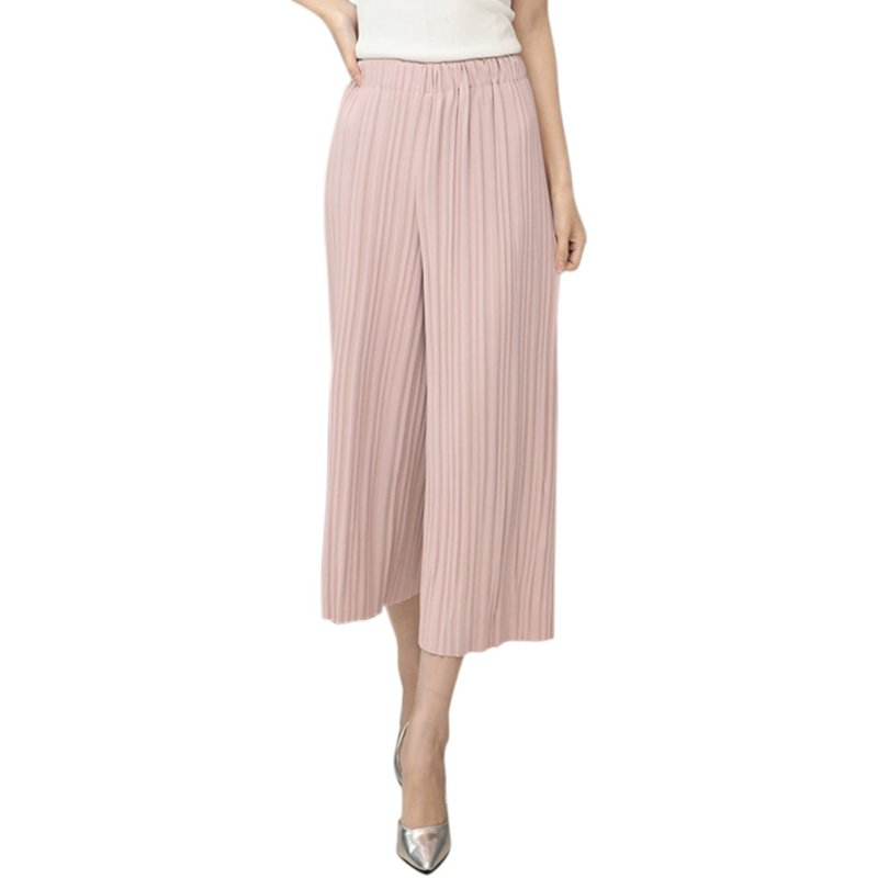 Summer Women   Pant   Elastic Waist Pleated   Pants   Big Swing Culottes Nine   Wide     Leg     Pants