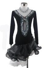New Latin dance costumes senior sexy long sleeves velvet latin dance dresses for women latin dance competition dresses S-4XL
