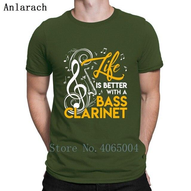 La vie est meilleure avec un t-shirt clarinette basse été famille imprimé S-3xl décontracté chemise à manches courtes naturelle
