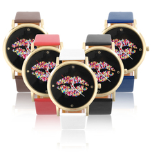 Trend Spherical Dial Attractive Lip Sample Ladies Girl PU Leather-based Band Quartz Wrist Watch